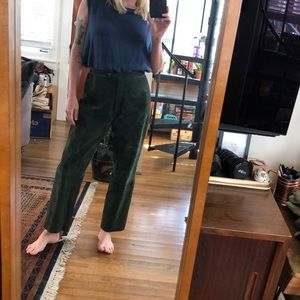 Adrienne vittadini huntergreen leather suede pants
